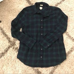 J Crew blue and green plaid flannel